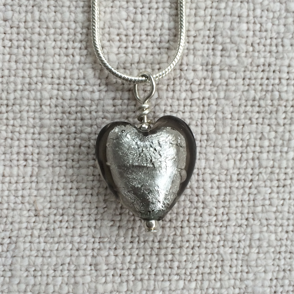 Necklace with grey (it. grigio) Murano glass small heart pendant on silver snake chain