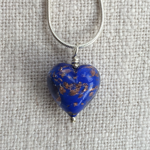 Dark Blue Pastel & Aventurine Small Heart On Silver Chain Necklace