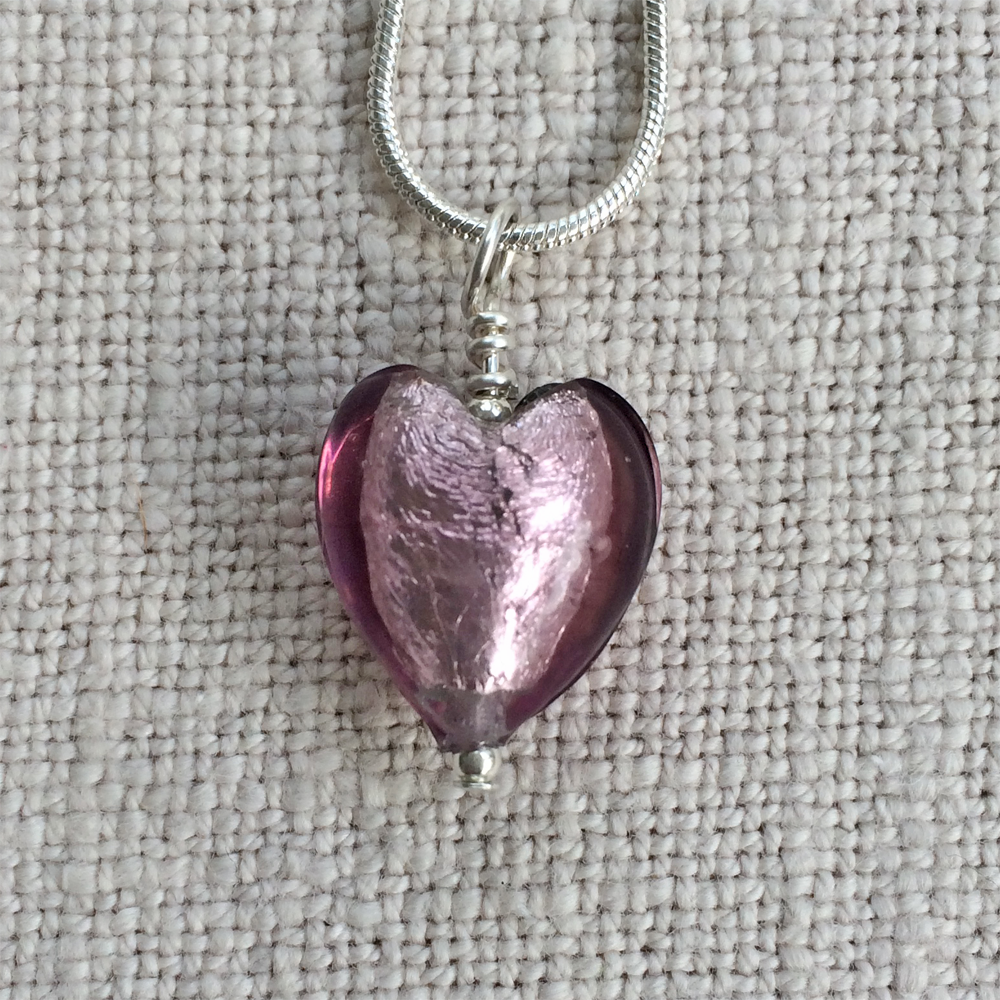 Necklace with light amethyst (purple) Murano glass small heart pendant on silver chain