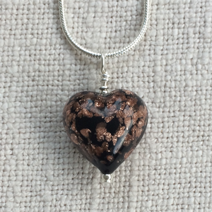 Necklace with black pastel and aventurine Murano glass small heart pendant on chain