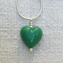 Necklace with dark green pastel Murano glass small heart pendant on silver snake chain