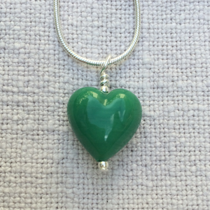 Dark Green Pastel Small Heart Pendant On Silver Chain Necklace