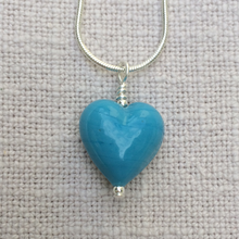 Necklace with turquoise pastel (blue) Murano glass small heart pendant on Sterling Silver snake chain