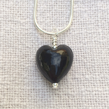 Necklace with black pastel Murano glass small heart pendant on silver snake chain