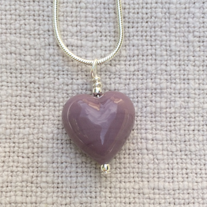 Necklace with purple pastel Murano glass small heart pendant on Sterling Silver snake chain