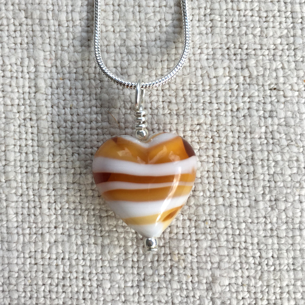Amber & White Pastel Spiral Small Heart Pendant On Silver Chain Necklace