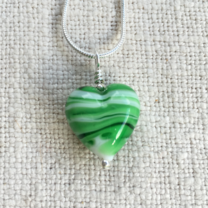 Green & White Spiral Small Heart On Silver Chain Necklace