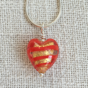 Light Red Spiral & Gold Foil Small Heart On Silver Chain Necklace