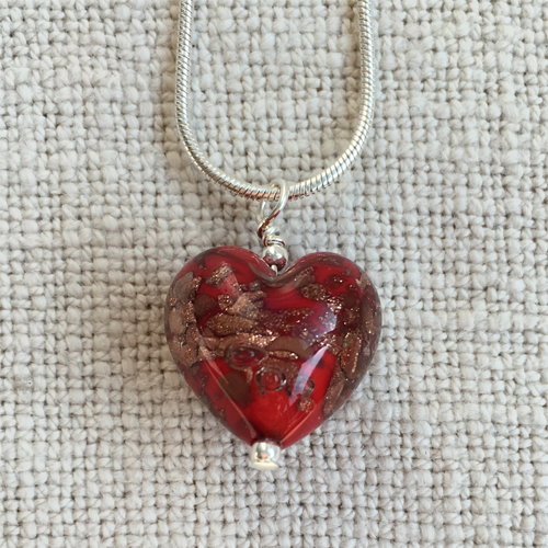 Necklace with red pastel and aventurine Murano glass small heart pendant on silver chain