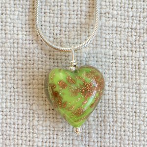 Green Pastel & Aventurine Small Heart Pendant On Silver Chain Necklace