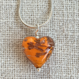Necklace with orange and aventurine Murano glass small heart pendant on silver chain