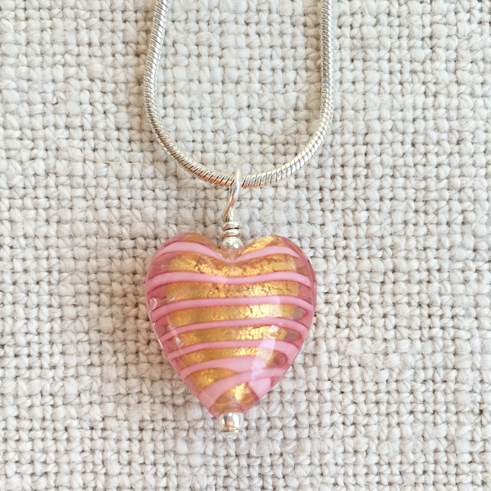 Necklace with pink spiral & gold Murano glass small heart pendant on Sterling Silver snake chain