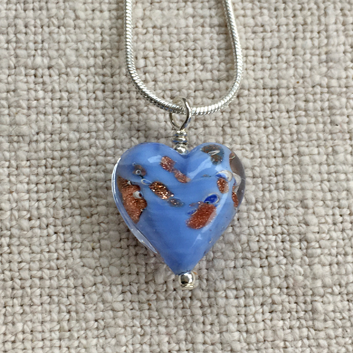 Blue Pastel & Aventurine Small Heart Pendant On Silver Chain Necklace