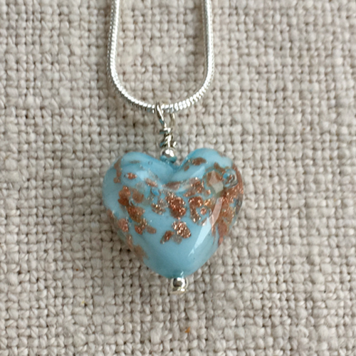 Light (Pale) Blue Pastel With Aventurine Small Heart Pendant On Silver Chain Necklace