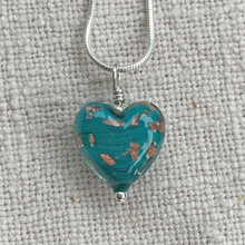 Necklace with dark green and aventurine Murano glass small heart pendant on chain