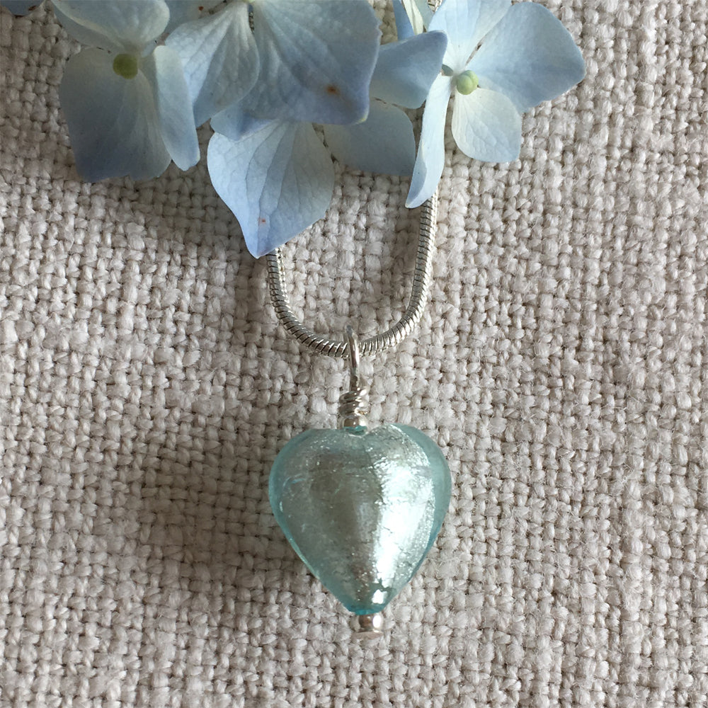 Necklace with aquamarine (blue) Murano glass small heart pendant on silver snake chain