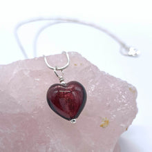 Necklace with dark amethyst (purple) Murano glass small heart pendant on silver chain
