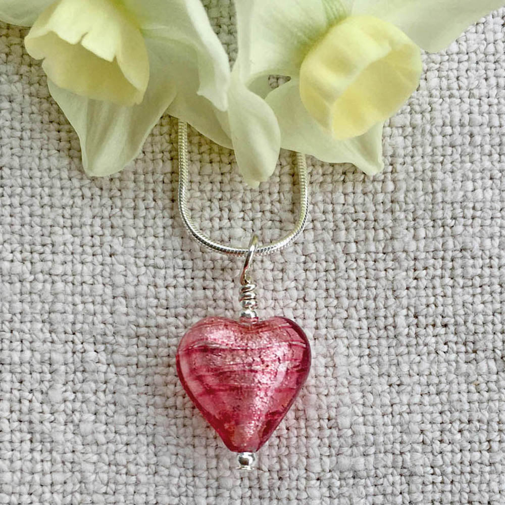 Necklace with rose pink (cerise, fuchsia) Murano glass small heart pendant on Sterling Silver snake chain
