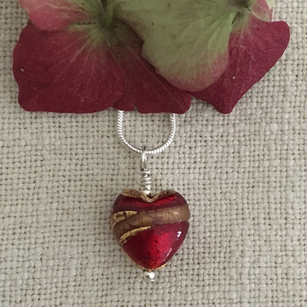 Necklace with red, gold and aventurine Murano glass small heart pendant on silver chain