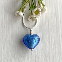 Necklace with cornflower blue Murano glass small heart pendant on silver snake chain