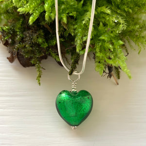 Necklace with dark green (emerald) Murano glass small heart pendant on silver chain