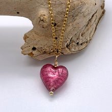 Necklace with rose pink (cerise) Murano glass small heart pendant on gold chain