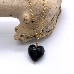 Necklace with black pastel Murano glass small heart pendant on gold cable chain
