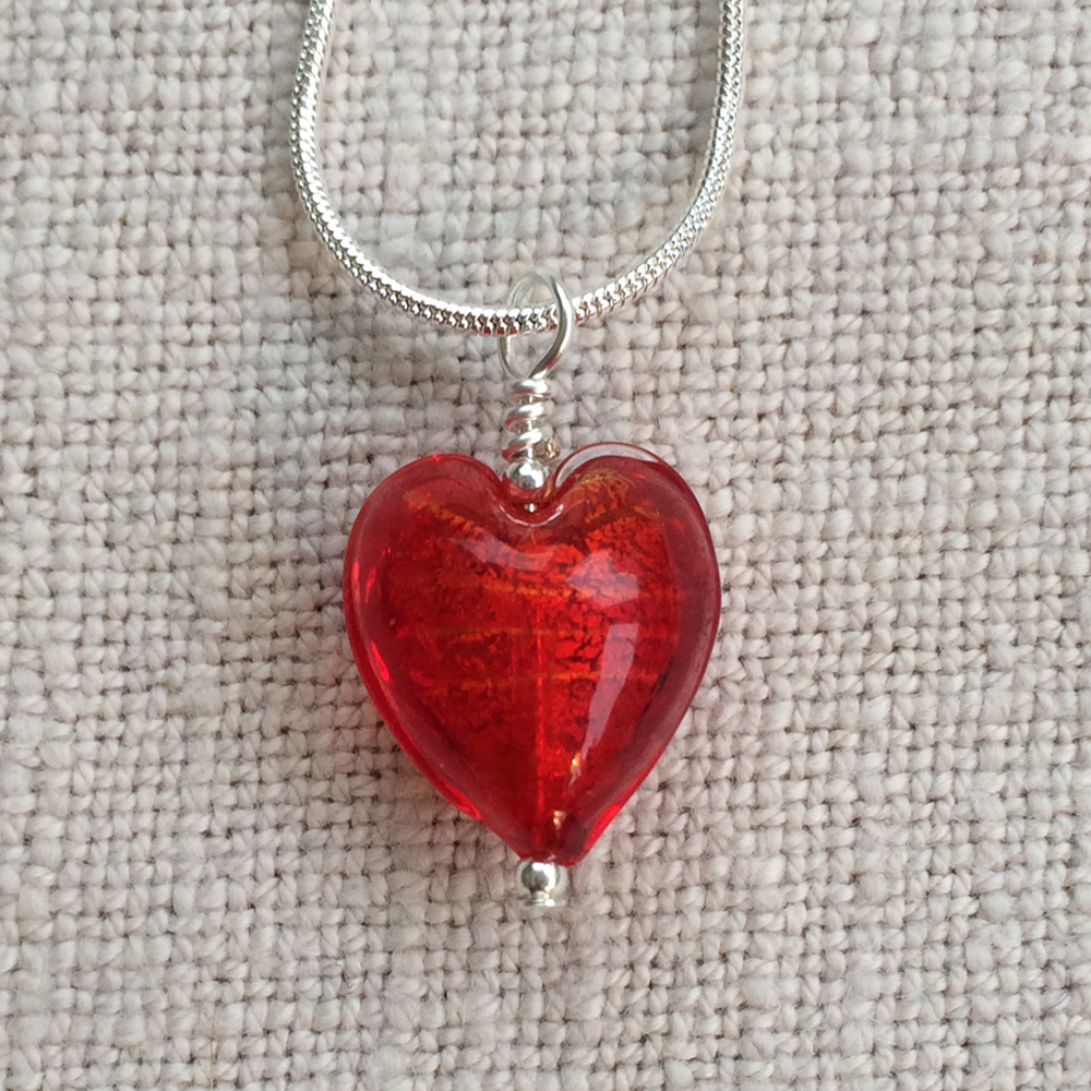 Light Red Small Heart Pendant On Silver Chain Necklace
