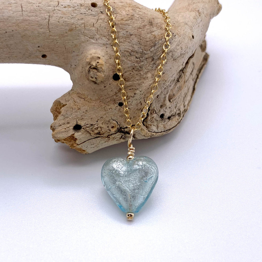 Necklace with aquamarine (blue) Murano glass small heart pendant on gold cable chain