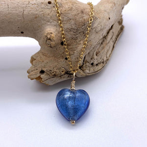 Necklace with cornflower blue Murano glass small heart pendant on gold cable chain