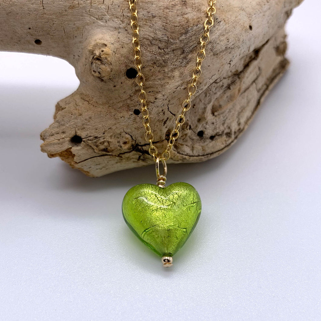 Necklace with light green (lime, peridot) Murano glass small heart pendant on gold chain
