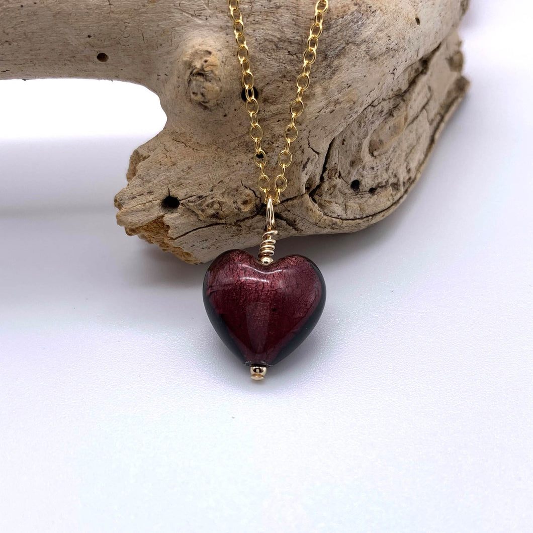 Necklace with dark amethyst (purple) Murano glass small heart pendant on gold chain