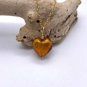 Necklace with brown topaz (amber) Murano glass small heart pendant on gold chain