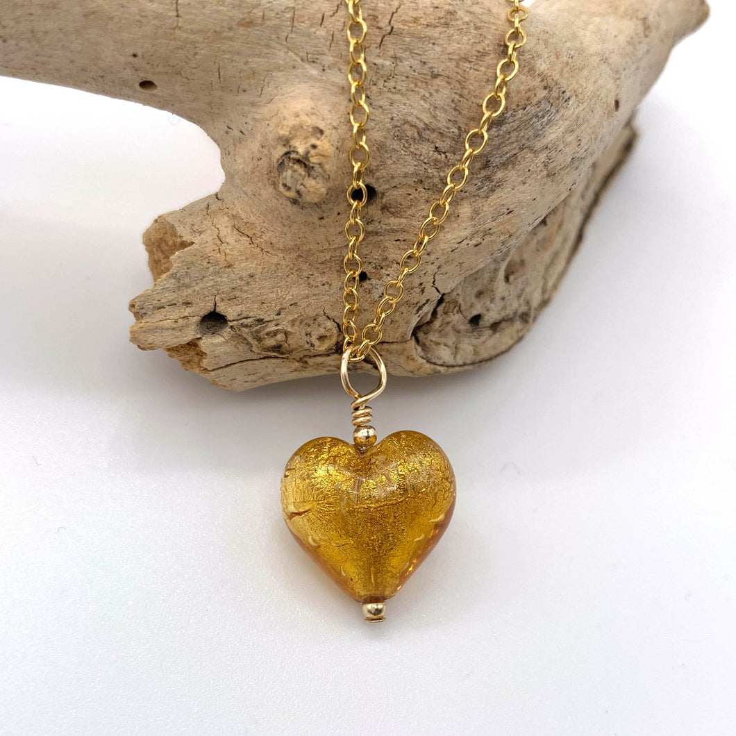 Necklace with gold topaz (amber, brown) Murano glass small heart pendant on gold chain