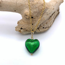 Necklace with dark green (emerald) Murano glass small heart pendant on gold cable chain