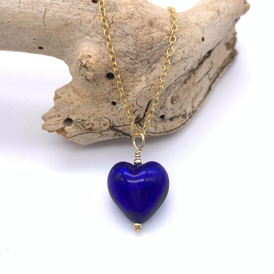 Necklace with dark blue (cobalt) Murano glass small heart pendant on gold cable chain