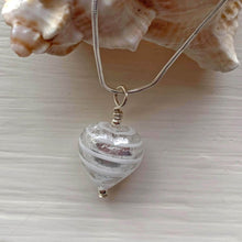 Necklace with white spiral and silver Murano glass small heart pendant on silver chain