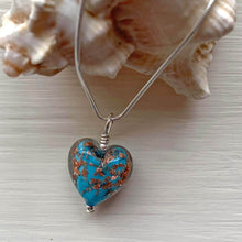 Necklace with turquoise pastel and aventurine Murano glass small heart pendant on silver chain