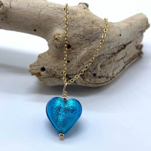 Necklace with turquoise (blue) Murano glass small heart pendant on gold cable chain