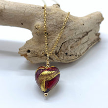 Necklace with red, gold, aventurine Murano glass small heart pendant on gold chain