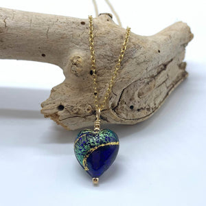 Necklace with dark blue, sea green, gold Murano glass small heart pendant on gold chain