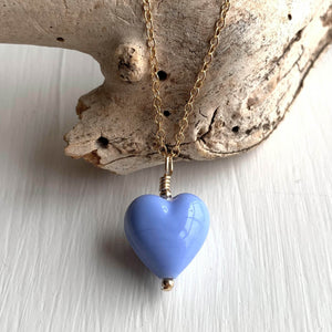 Necklace with periwinkle (blue) pastel Murano glass small heart pendant on gold cable chain