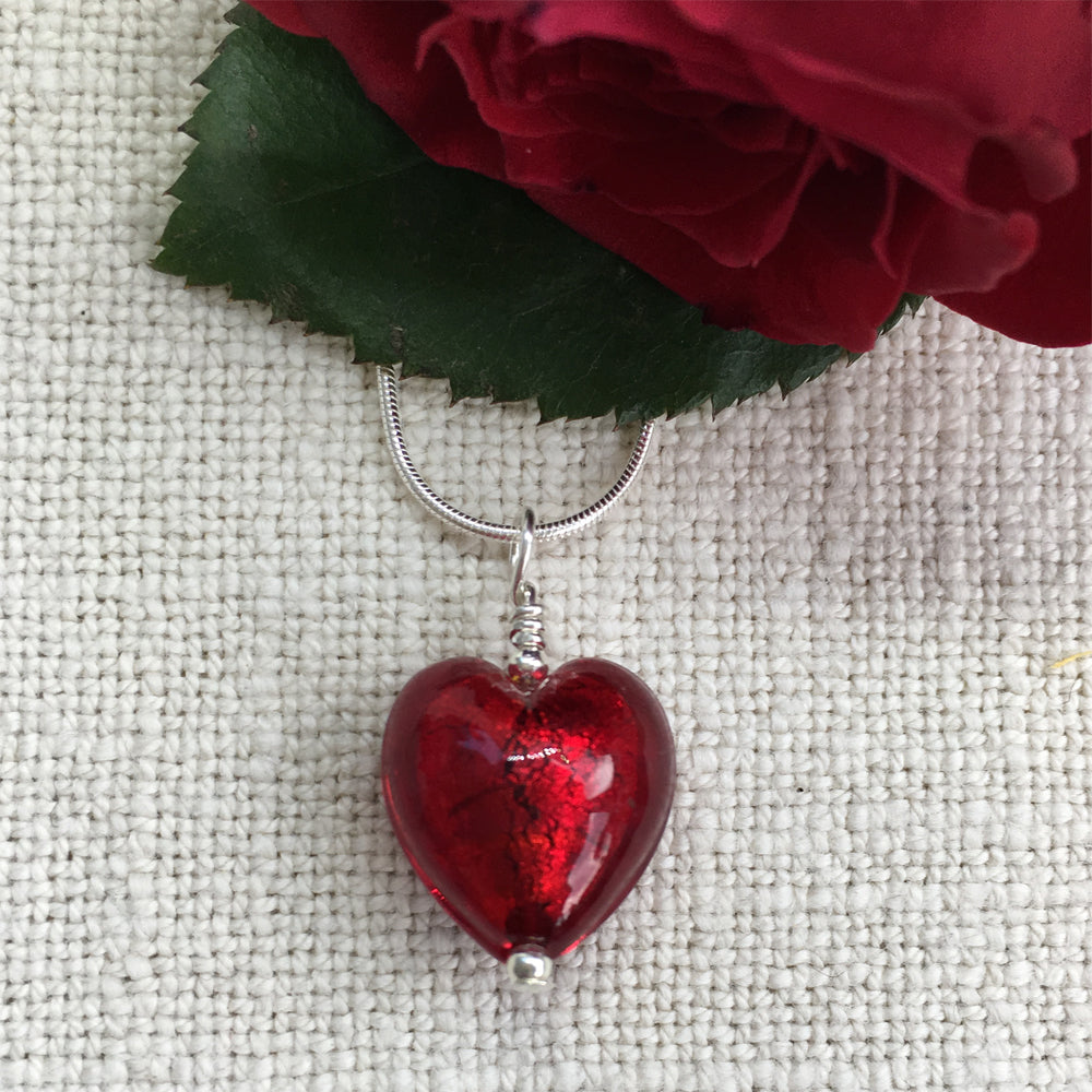 Necklace with red Murano glass small heart pendant on silver snake chain