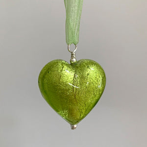 Necklace with light green (lime) Murano glass large heart pendant on ribbon
