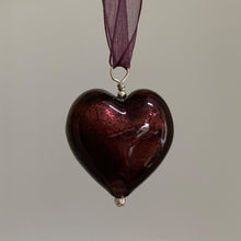 Necklace with dark amethyst (purple) Murano glass large heart pendant on organza ribbon