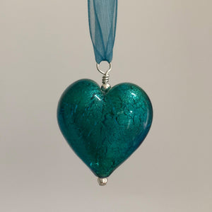 Necklace with sea green (jade, teal) Murano glass large heart pendant on organza ribbon