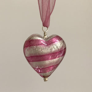Necklace with candy stripe pink Murano glass large heart pendant on organza ribbon
