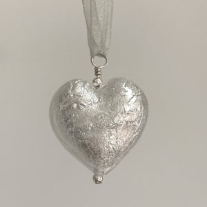 Necklace with clear crystal and white gold Murano glass large heart pendant on ribbon