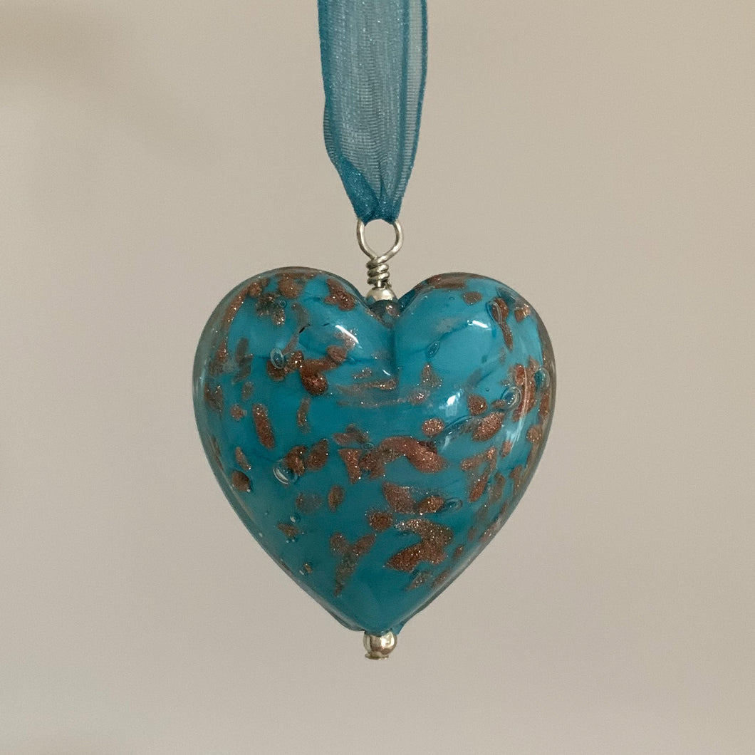 Necklace with blue pastel and aventurine Murano glass large heart pendant on ribbon