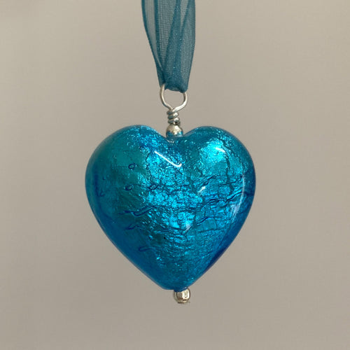 Necklace with turquoise (blue) Murano glass large heart pendant on organza ribbon
